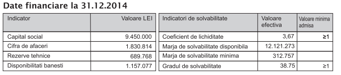 Indicatori stabilitate financiara - Gerroma extras din raportul anual 31.12.2014